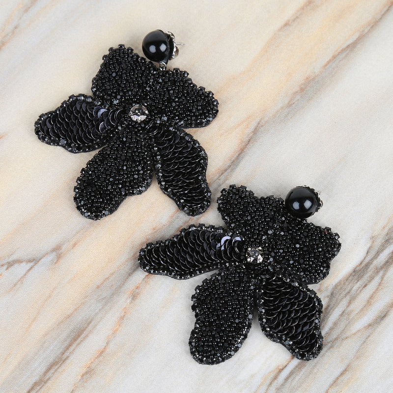 Handmade Orchid Earrings | Hand Embroidered Jewelry by Deepa Gurnani