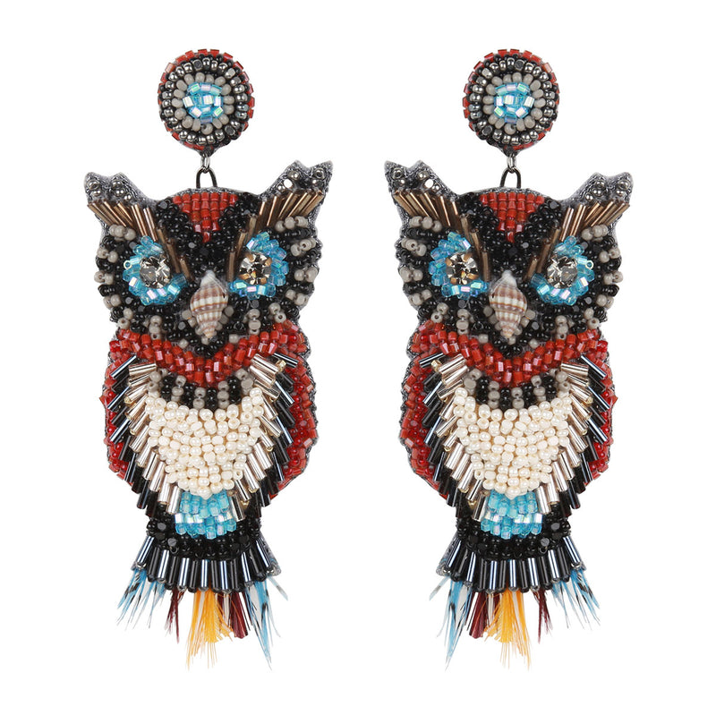 Deepa Gurnani Handmade Statement Owl Earrings