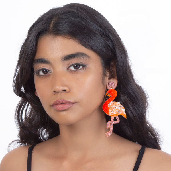 Orange flamingo earrings by Deepa Gurnani