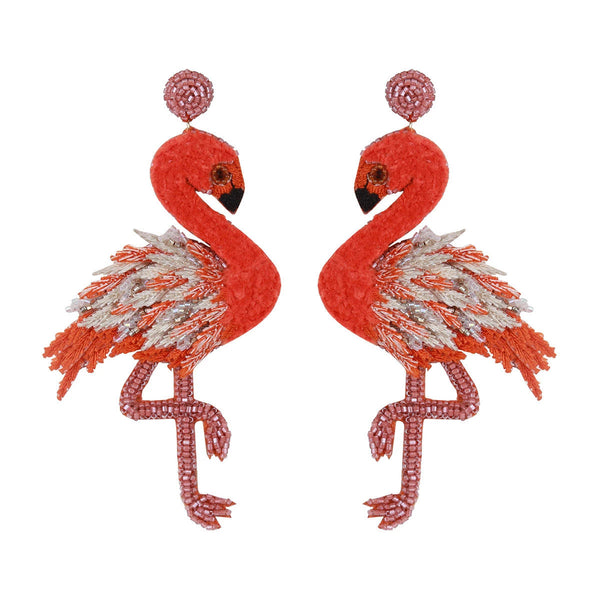 Handmade embroidered lightweight flamingo earrings