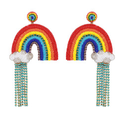 Fun handmade embroidered lightweight rainbow earrings