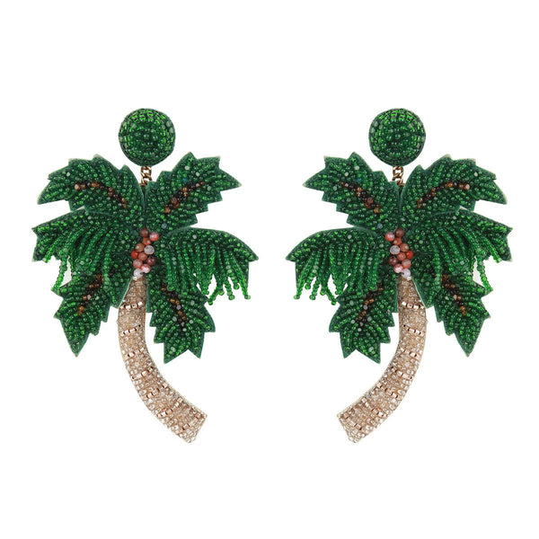 Handmade embroidered lightweight palm tree earrings