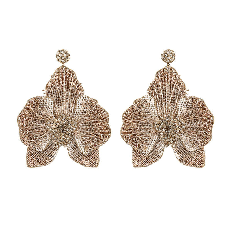 Deepa Gurnani Lightweight Orchid Statement Earrings Light Gold