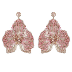 Deepa Gurnani Lightweight Orchid Statement Earrings Gold