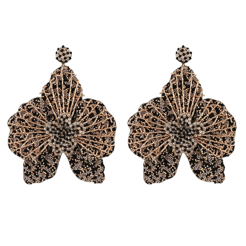 Deepa Gurnani Lightweight Orchid Statement Earrings Black