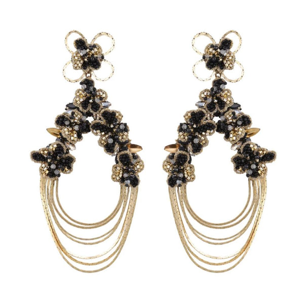 Deepa Gurnani Handmade Kassidy Earrings Black