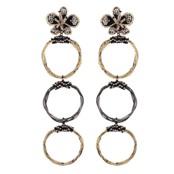 Deepa Gurnani Handmade Triple Hoop Pooja Earrings
