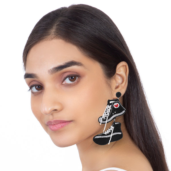 Unique black and white sneaker earrings by Deepa Gurnani