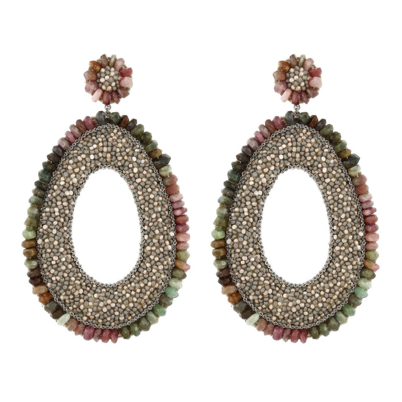 Deepa Gurnani Handmade Trinny Earrings Grey