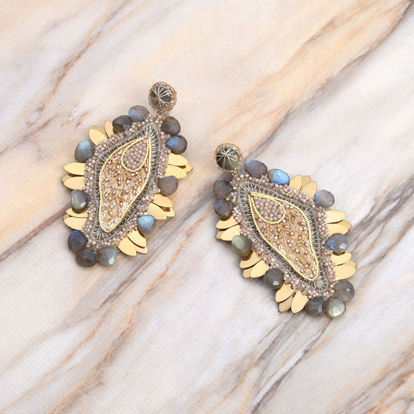 Deepa Gurnani Handmade Yoon Earrings Gold on Slate Background