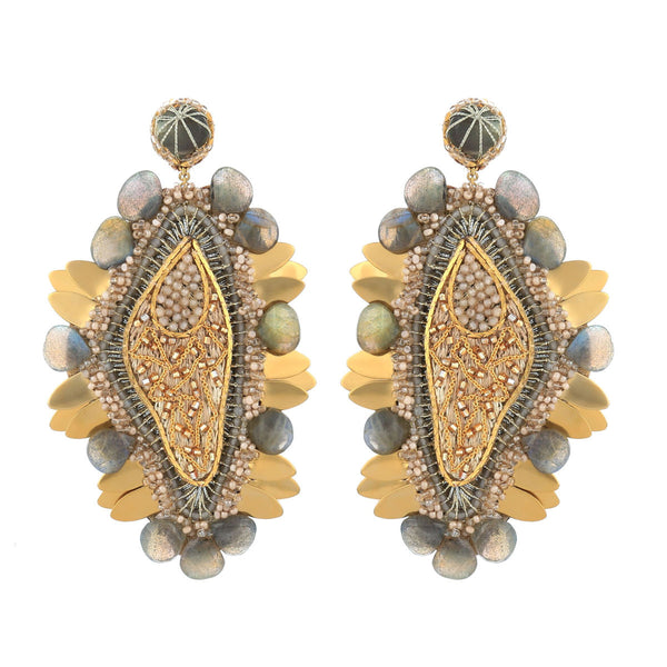 Deepa Gurnani Handmade Yoon Earrings Gold