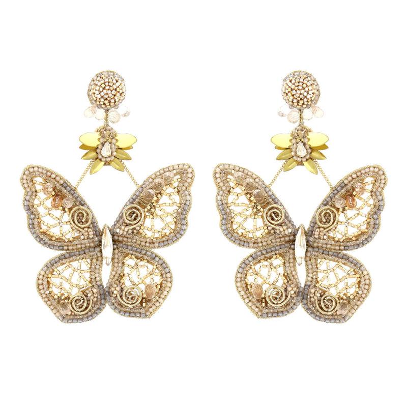 Deepa Gurnani Handmade Hayley Butterfly Earrings Gold