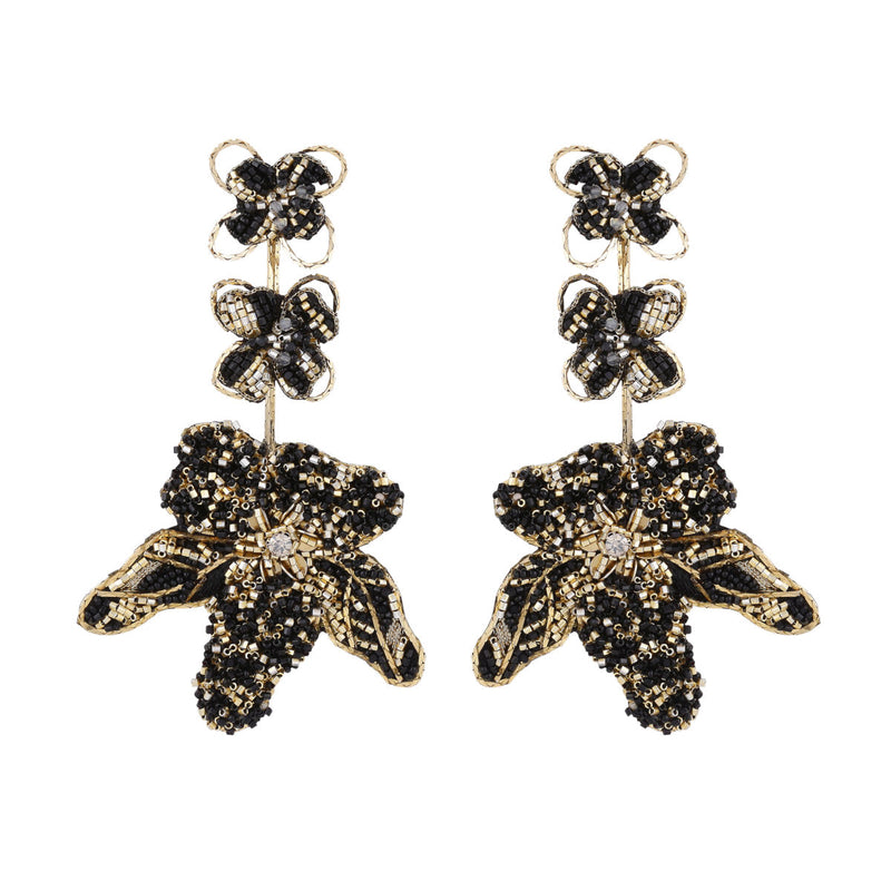 Deepa Gurnani Handmade Wynona Earrings Black