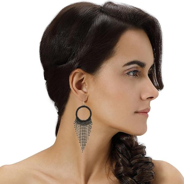 Model Wearing Deepa by Deepa Gurnani Handmade Alesandra Earrings in Black