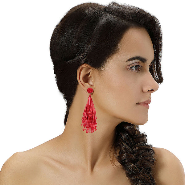 Model Wearing Deepa by Deepa Gurnani Handmade Chandelier Earrings in Red