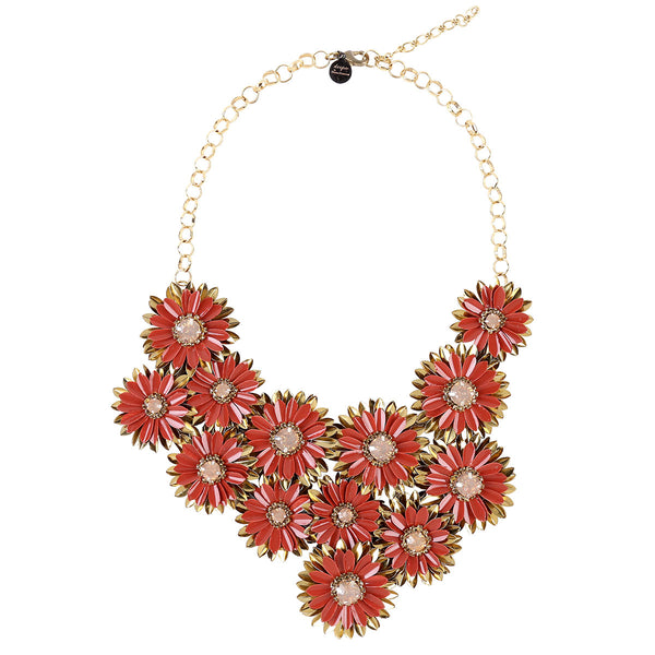 Deepa by Deepa Gurnani Handmade Gianne Necklace in Gold and Burnt Orange