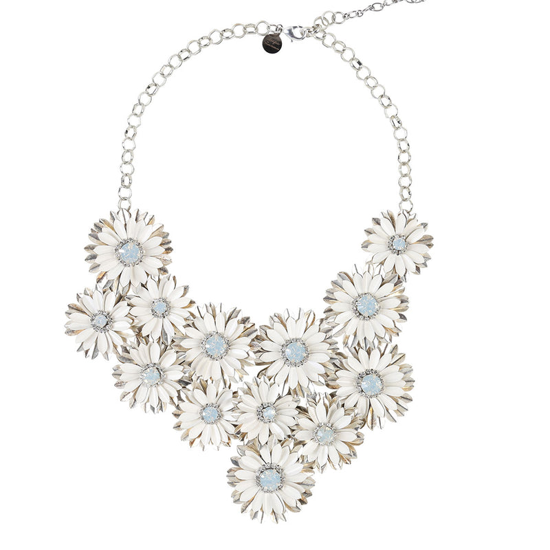 Deepa by Deepa Gurnani Handmade Gianne Necklace in White and Silver