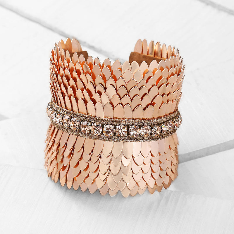 Deepa by Deepa Gurnani Handmade Gigi Cuff in Rosegold on Wood Background