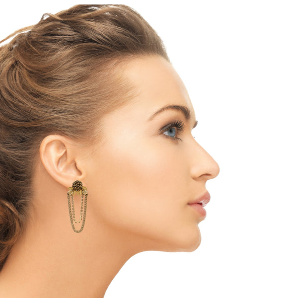 Model Wearing Deepa by Deepa Gurnani Handmade Ginnie Earrings in Gold