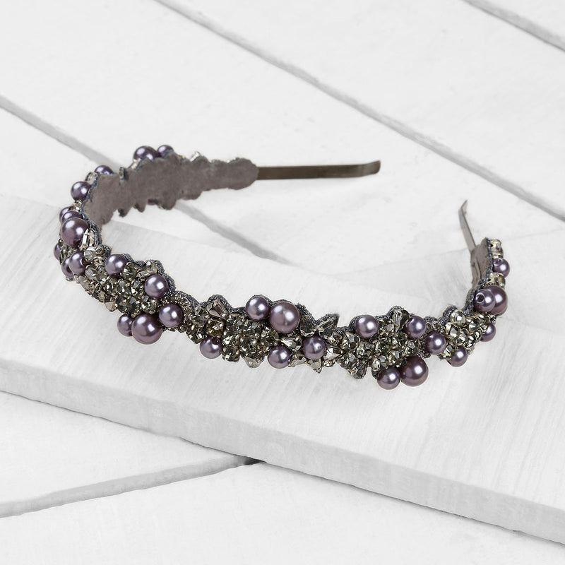 Deepa by Deepa Gurnani Handmade Peony Headband in Gunmetal on Wood Background