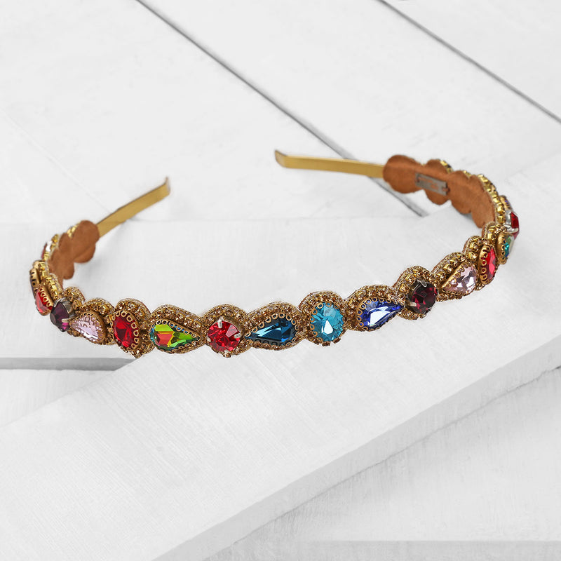Deepa by Deepa Gurnani Handmade Coraline Headband in Multicolor on Wood Background