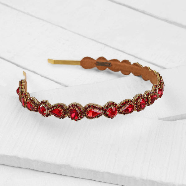 Deepa by Deepa Gurnani Handmade Coraline Headband in Red and Gold on Wood Background