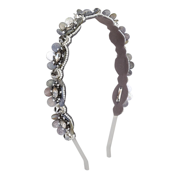 Deepa by Deepa Gurnani Handmade Embroidered Elliana Headband in Gray
