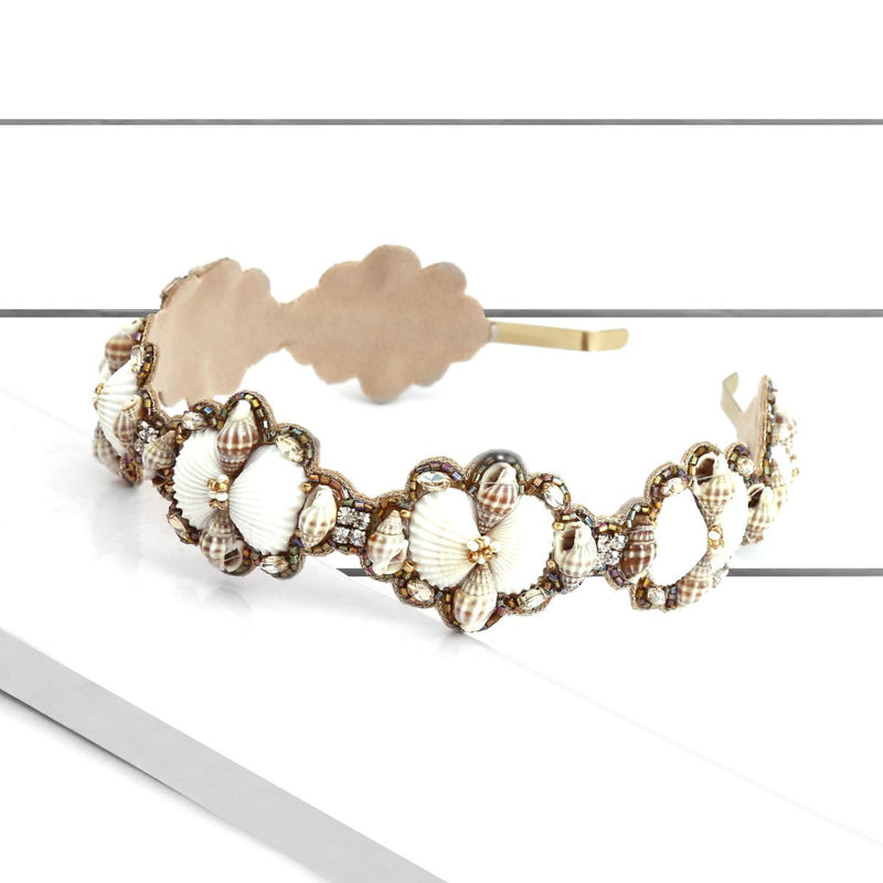 Deepa by Deepa Gurnani Handmade Reba Hard Headband Ivory on Wood Background