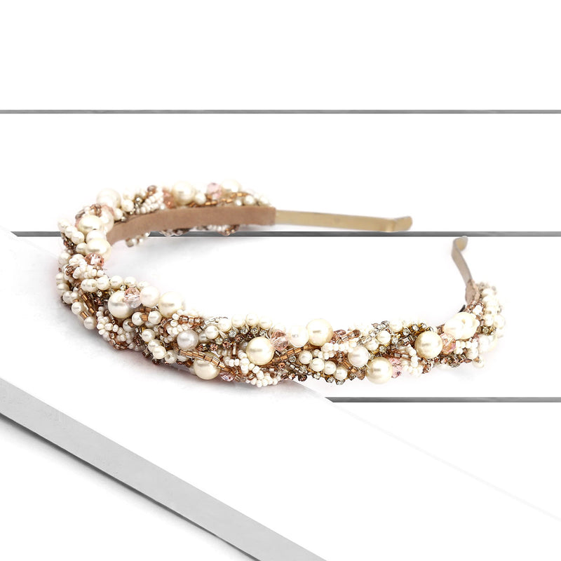 Hand Embroidered Pearl Headband by Deepa Gurnani Accessories