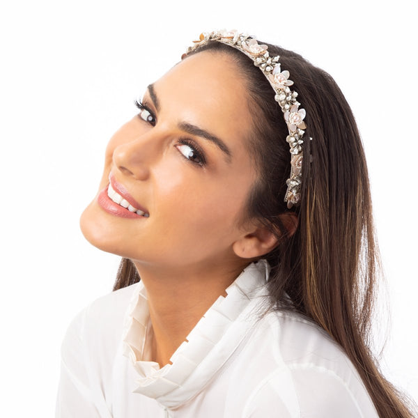The handmade and detailed Halle Headband is sure to become the feature of any look.
