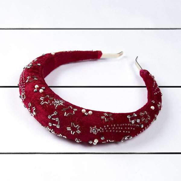 Deepa by Deepa Gurnani Handmade Lekha Padded Headband Maroon on Wood Background