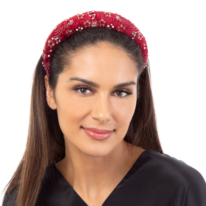 Deepa by Deepa Gurnani Lekha Padded Headband Maroon Model