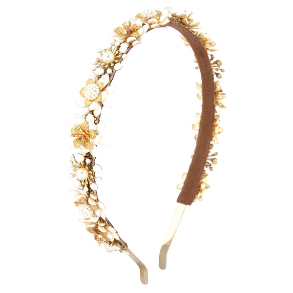 handmade ivory beaded enamel flower hard headband