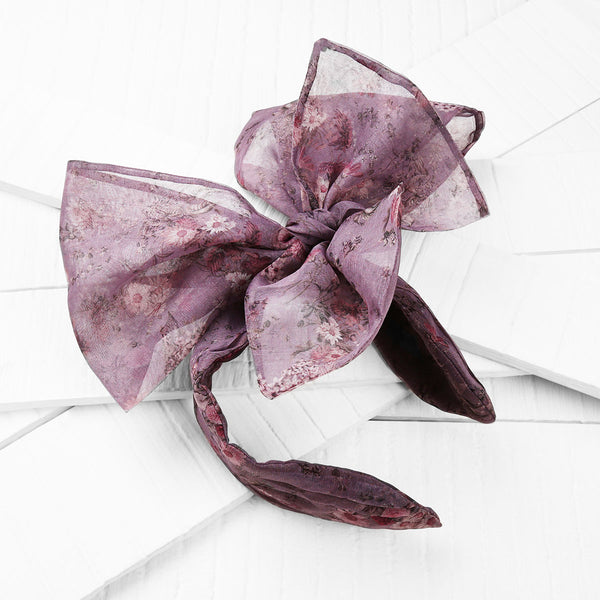 Deepa by Deepa Gurnani Handmade Isabelle Headband in Plum on Wood Background