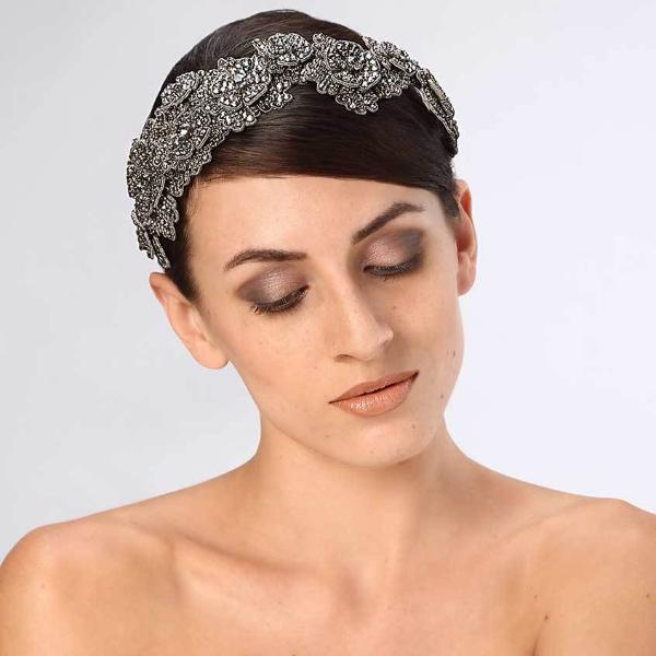 Model Wearing Deepa Gurnani Handmade Zoey Luxe Headband in Gunmetal