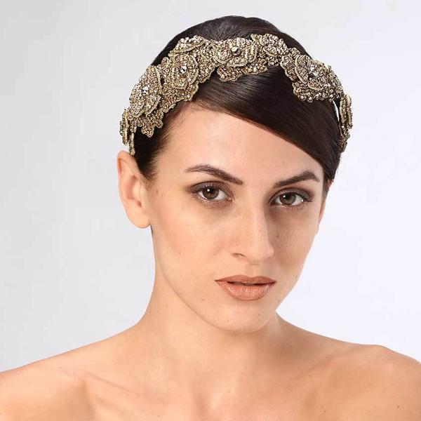 Model Wearing Deepa Gurnani Handmade Zoey Luxe Headband in Gold