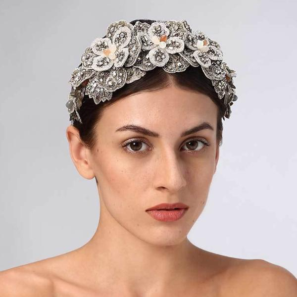 Model Wearing Deepa Gurnani Handmade Adelynn Headband