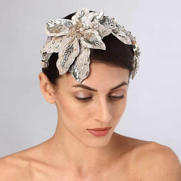 Model Wearing Deepa Gurnani Handmade Flor Headband