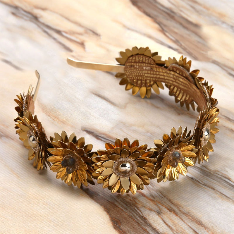 Deepa Gurnani Handmade Stormi Hard Headband Gold on Marble Background