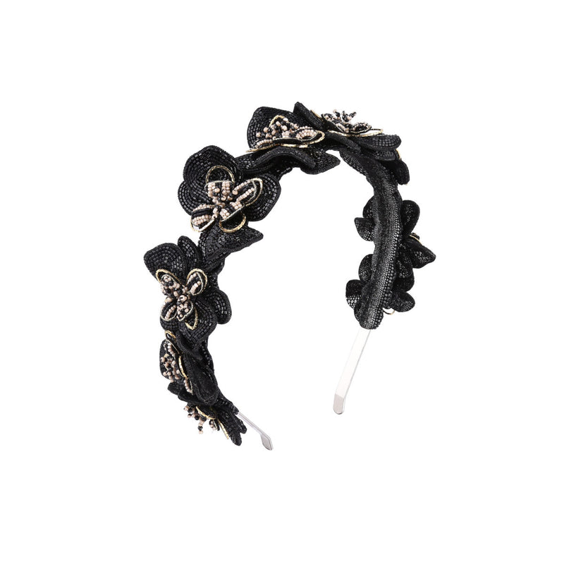 Deepa Gurnani Handmade Peaches Hard Headband Black