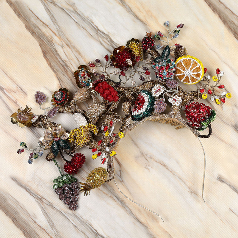 Deepa Gurnani Handmade Griselda Fruit Headband on Marble Background