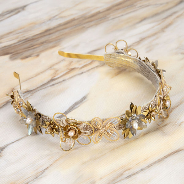 Deepa Gurnani Handmade Hadleigh Hard Headband Gold on Slate Background