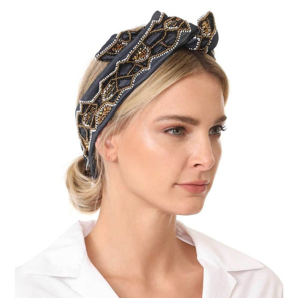 Model Wearing Deepa by Deepa Gurnani Handmade Regine Wire Headwrap