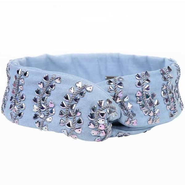 Deepa by Deepa Gurnani Handmade Agatha Wire Headwrap in Lite Denim
