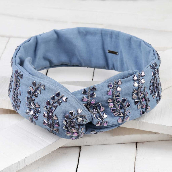 Deepa by Deepa Gurnani Handmade Agatha Wire Headwrap in Lite Denim on Wood Background