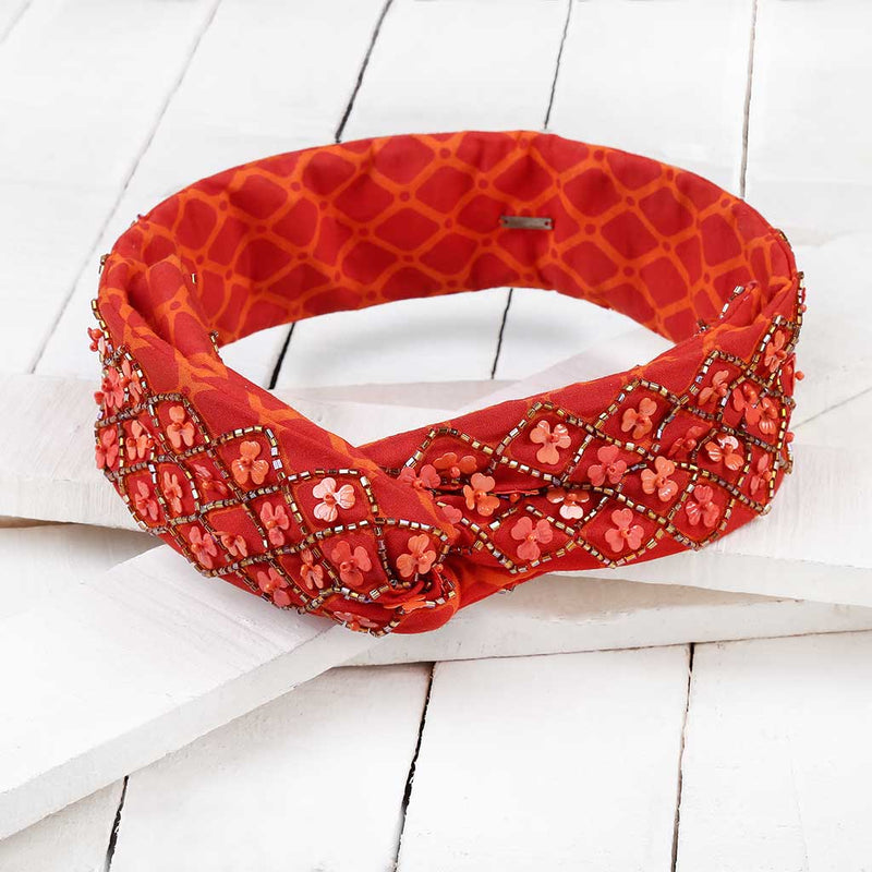 Deepa by Deepa Gurnani Handmade Abilene Wire Headwrap in Orange on Wood Background