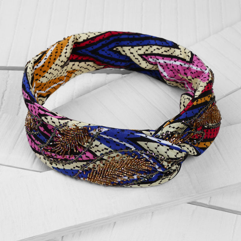 Deepa by Deepa Gurnani Handmade Noelle Wire Headwrap on Wood Background