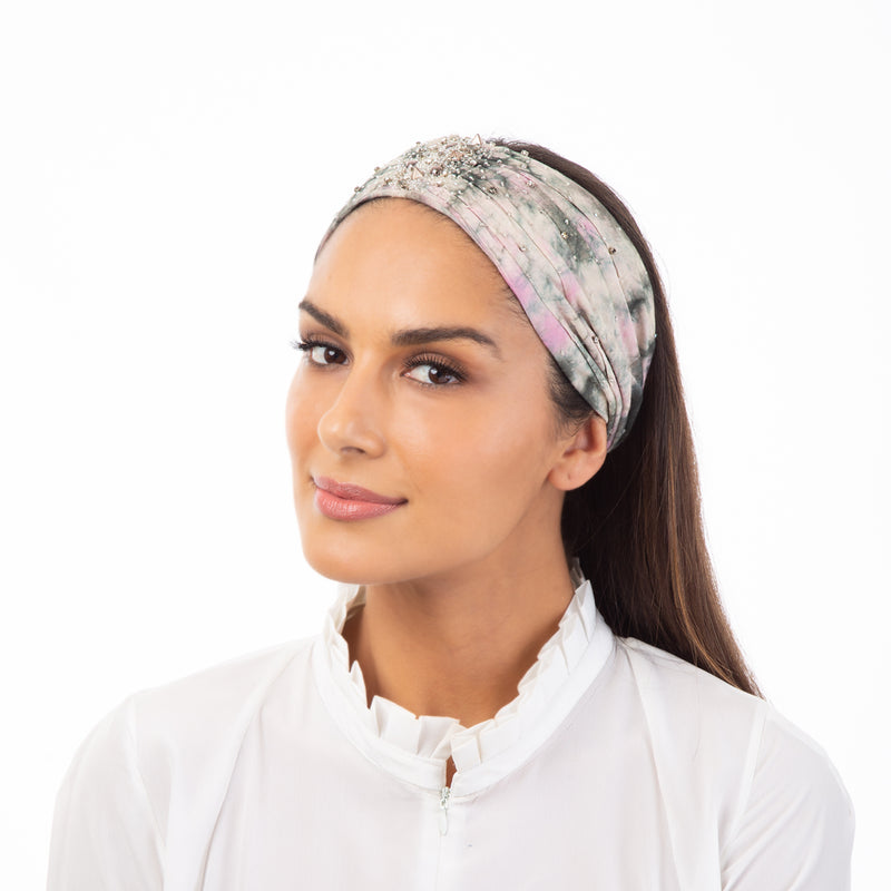 Tie dye head wrap with hand beaded embroidery