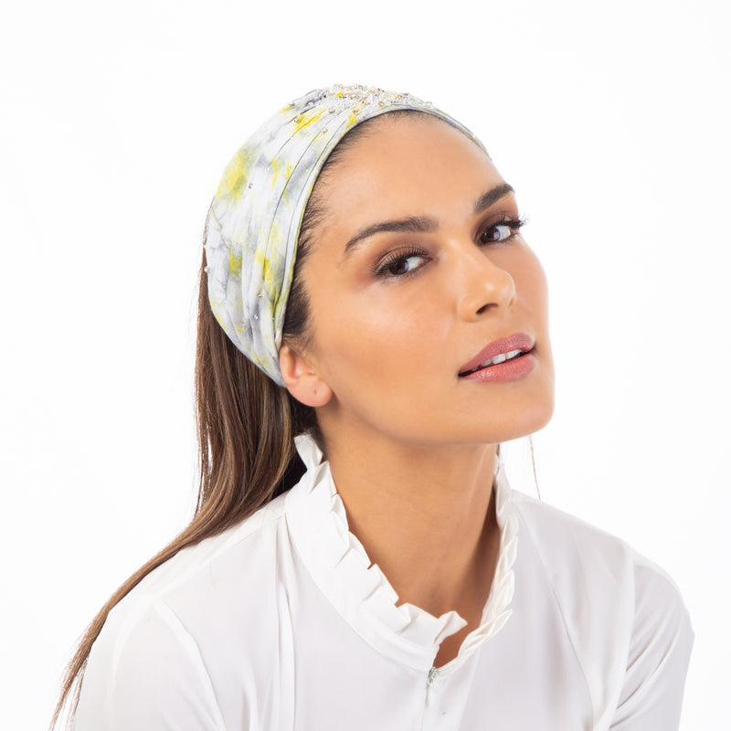 Tie dye head wrap with beaded embroidery