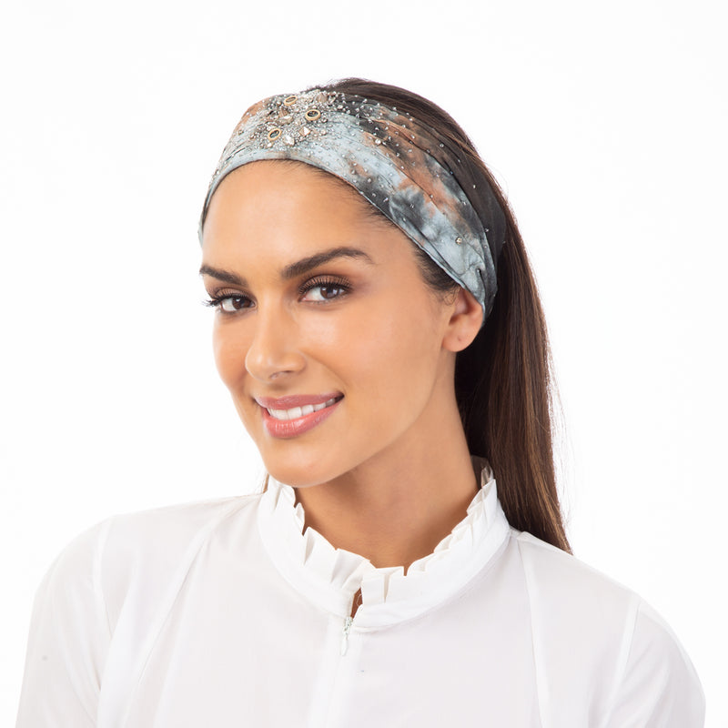 Tie dye headwrap with embroidery